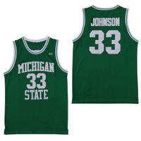 b381c509b NCAA Michigan State Spartans  33 Earvin Johnson Magic LA Green White  College 33 Larry Bird High School Basketball Jersey Stitched Shirts