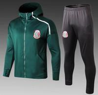 equipos de fútbol al por mayor-Conjunto de calidad superior 2019 México traje de entrenamiento de fútbol con capucha conjunto 2019 2020 CHICHARITO equipo nacional de fútbol Maillot de pie traje de entrenamiento