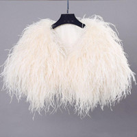 Wholesale real fur boleros for sale - Group buy Luxurious Fashion Real Hairy Ostrich Feather Furry Fur Coat Jacket Bridal Bolero For Wedding Formal Party Bridal Accessories