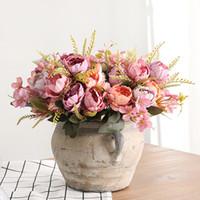 ingrosso piccoli fiori di seta rosa-5 Bouquet testa Peonia Fiori artificiali Piccoli peonie di seta bianche Fiori finti Festa nuziale Decorazione domestica Fiore rosa Rosa Art