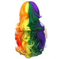 косплей парики женщин оптовых-Soowee 70cm Long Curly High Temperature Fiber Synthetic Hair Cosplay Wigs Red Yellow Pink Women Party Hair Wig Peruca
