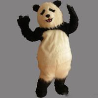 panda fantasia venda por atacado-Alta Qualidade Furry Panda Mascot Costume Adulto Tamanho Adorável Partido Fantasia Panda Dress Frete Grátis