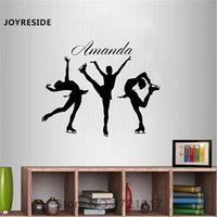 Wholesale figure ice skates for sale - Group buy Figure Skating Girl Wall Personalized Customized Name Decal Vinyl Sticker Ice Skating Sport Decor Room Decoration