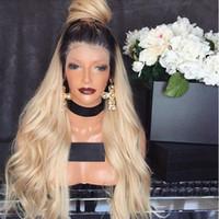 blonde hair dark roots wig toptan satış-En Çok Satan Ücretsiz Kısmı Ombre Peruk Koyu Kökleri Ile Sarışın peruk Tutkalsız Sentetik Dantel Ön Peruk Bebek Saç Ile Afrika Amerikan Peruk Için