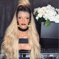 Wholesale african american glueless wigs resale online - Top Selling Free Part Ombre Wig With Dark Roots Blonde Wig Glueless Synthetic Lace Front Wig With Baby Hair For African American Wigs