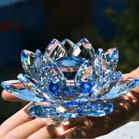 ingrosso fiori della decorazione domestica del loto-80 millimetri Quartz Crystal Lotus Flower vetro artigianato fermacarte Fengshui Ornamenti Figurine casa della festa nuziale di decorazione Oggetti da regalo Souvenir