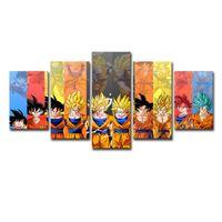 arte da parede da lona da forma venda por atacado-(Apenas Lona Sem Quadro) 5 Pcs Colorido Dragon Ball Dos Desenhos Animados Poster Wall Art HD Pintura Da Lona de Impressão de Moda Pendurado Fotos