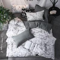 koreanische vollgröße bettwäsche gesetzt groihandel-Luxus Bettwäsche-Set Bettbezug Sets 3pcs Marmor Super-King-Size-Einzel Swallow Königin Schwarz Tröster Bettwäsche aus Baumwolle 200x200