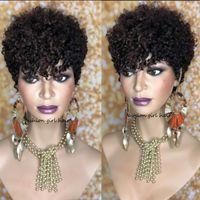 cheveux au chocolat 16 pouces achat en gros de-Court Sassy Curl Pixie Cut perruque perruques de cheveux bouclés humain Remy Brésiliennes cheveux 150% perruque bob densité
