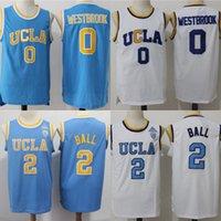 faculdade rápida venda por atacado-Mens UCLA Bruins NCAA Jersey 2 Lonzo Bola 0 Russell Westbrook Todo Costurado Lonzo Bola Universidade Faculdade Basquete Jerseys Transporte Rápido