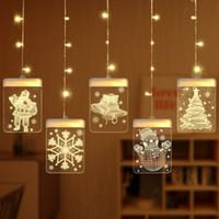 cortinas iluminadas bodas al por mayor-Lámpara de cuerdas de hielo de Navidad Bodas Fiestas Decoración romántica Ambiente Modelado en 3D cortina 5 Luces / Cuerda