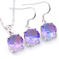 Wholesale purple gem necklaces for sale - Group buy Luckyshine Christmas Gift Set Round Bi Colored Tourmaline Gems Silver Pendants Drop Earrings Jewelry Set For Women New