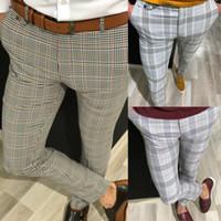 erkek pantolonu toptan satış-Erkekler 2019 Yeni Casual Slim Fit Skinny İş Örgün Parti Smokin Pantolon Pantolon Pantolon Ücretsiz Kargo