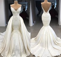 Wholesale 3d flower dress design for sale - Group buy Delicate Mermaid Detachable Train Wedding Dress New Designed Low Backless Spaghetti Straps Appliques D Flowers Ruched Vestidos BC0776
