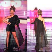 vestidos de niña roja al por mayor-2019 Black Girl Pageant Dress One Shoulder Lace Appliqued Little Kids Fiesta de cumpleaños con Cape Flower Girl Dress Alfombra roja