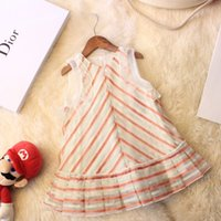 Wholesale mesh dress stripes resale online - Kids dressing gown children s dress princess dress simple and colorful stripes with stylish mesh ear