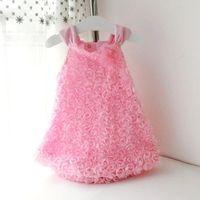 Wholesale pink rosette flower girl dresses resale online - Summer Style Girls Infantil Sleeveless Rosette Flowers Dresses Princess Baby Girl Suspender Dress Kids Clothes Q190518