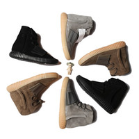 Wholesale waterproof running shoes online - Kanye West Runner Light Brown Grey Gum Triple Black High Men Running Shoes Best Quality Athletic Sneakers With Box