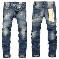 pantalones de lino de los hombres al por mayor-2018 nuevos pantalones vaqueros de la llegada para los hombres vintage ripped jeans para hombres sexy flaco hombres lino jeans proveedor de China envío de la gota libre