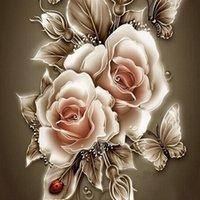 diy elmas boyama çapraz dikiş çiçekler toptan satış-5d elmas nakış diy yuvarlak elmas altın gül çiçek kelebekler resim elmas boyama çapraz dikiş ev çıkartmaları
