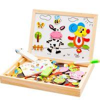 animais da selva bebê venda por atacado-Baby Farm Selva Animal Magnética Multifuncional Educacional Crianças Crianças Jigsaw Puzzle Prancha De Desenho De Madeira Brinquedo