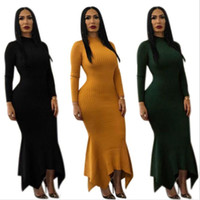 Wholesale clothings resale online - Solid Trumpet Bandage Party Long Vestidos Summer Lady Bodycon O neck Sexy Club Casual Full Dress Women Casual Clothings