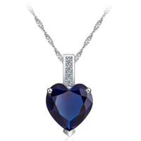 rosa diamantherzhalskette großhandel-Qualitäts-Blau Rosa österreichische Kristall-Diamanten-Liebes-Herz-Anhänger-Halskette Silber Kette Halsband Frauen-Mädchen-Geschenk