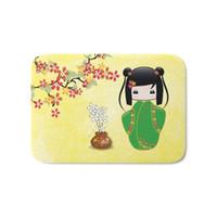 ingrosso bambola di sakura-Sakura Kokeshi Doll Zerbino Camera da letto Soggiorno Decorazione Stuoia Tappeto Tappetino antiscivolo Tappetino antiscivolo