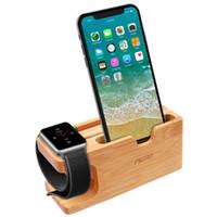 aufladung telefonständer großhandel-Apple Watch Stand, Bamboo Wood Ladestation Halterung Docking Station Cradle Halter W Visitenkartensteckplatz Phone Stand für iPhone X XS Max 8 7