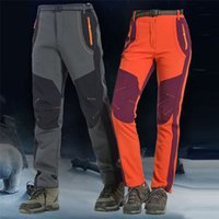 winddichte hosen plus größe groihandel-Outdoor-Klettern-Hose-Männer Frauen-Winter-Fleece Pants Plus Size Softshell Paar wasserdicht winddicht Thermo-Hosen für