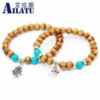 Wholesale ailatu resale online - Ailatu mm Wood Beads Fatima Hand Hamsa Bracelets New OM Yoga Jewelry
