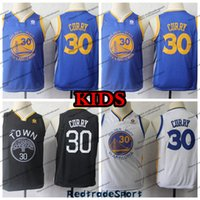 curry amarillo negro al por mayor-2019 Niños Golden Stephen Curry 30 Camisetas de baloncesto Youth State Stephen Curry Warrior Blue Black Yellow Boys State Stitched Shirts1A