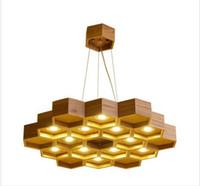 ingrosso led luci del negozio di legno-Loft lampada a sospensione in legno a nido d'ape lampadari Nordic legno antico fondato su legno massello Light Bar Coffee Shop piccoli lampadari LLFA
