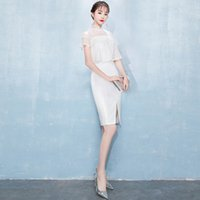 белые тонкие сексуальные свадебные платья оптовых-White Lace Slim Elegant Sexy Chinese Female Cheongsam Dress Vestidos Chinos Oriental Wedding Gowns Party Dresses Size XS-XXL