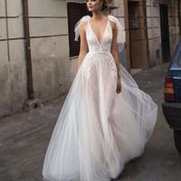 Wholesale boho wedding dress resale online - Berta Beach A Line Wedding Dresses Sexy Illusion Spaehetti Tulle Bohemian Bridal Gowns Lace Applique Boho Wedding Dress