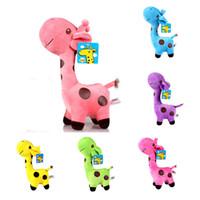 brinquedos de pelúcia de cervo venda por atacado-Bichos de pelúcia girafa Boneca Plush Toys macio cristal curto brinquedos de pelúcia Ultra dot cor veados frete grátis