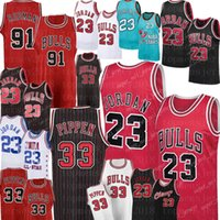 jersey basketball ncaa  venda por atacado-NCAA 33 Scottie Pippen MJ 23 Michael Bull Jersey 91 Dennis Rodman Basketball Jerseys University College MJ Retro malha Jersey