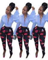 seksi sıska ince tozluk baskısı toptan satış-Tasarımcı Kadınlar Dudak Baskı Tozluk Seksi Bodycon Pantolon Lady Trendy Yaz Sping Giyim Ince Siyah pantolon Artı Boyutu S-2XL 590