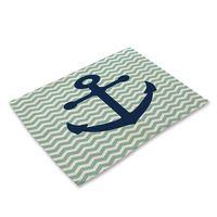 ingrosso ancoraggio a vela-Anchor sailing Pattern Cotton Linen Western Pad Tovaglietta Isolamento Tavolo da pranzo Tappetino Ciotole Sottobicchieri Accessori da cucina