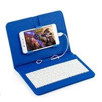 cep telefonu kılıf deri toptan satış-Keyboardspu deri kablolu klavye kılıf için iphone koruyucu cep telefonu için otg ile 4.2 '' - 6.8 '' android telefon için kapak kılıf kılıf