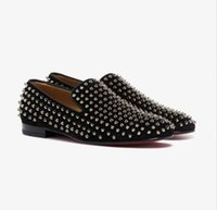 Perfect Man Gift Black Suede Leather Rollerboy Spikes Red Bottom Loafers Gentleman Slip On Walking Luxury Wedding,Dress,Party