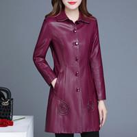 Wholesale womens faux pu leather jacket resale online - Womens Burgundy Black Pu Leather Jacket Women Faux Leather Long Trench Coat Oversize Overcoat Plus Size XL XL XL