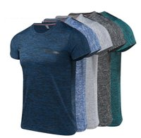 Wholesale exercise shirts online - Mens Quick Dry Exercise T Shirt Large Size S to XL Short Sleeve Slim Fit Fitness Tee Elastic Breathable Running Sportwear