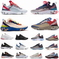 luzes brancas venda por atacado-2020 Reagir Elemento 87 55 Running Shoes para a órbita dos homens mulheres Antracite Luz óssea Triplo preto branco vermelho moda masculina Formadores Sports Sneaker