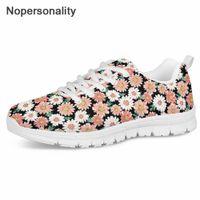 цветочный принт обувь кроссовки оптовых-Nopersonality Японская обувь Женская Daisy Print Fresh Style; Кроссовки на шнуровке для девочек-подростков Студенты Повседневная обувь с цветочным принтом