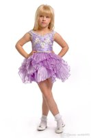 Wholesale above knee pageant dresses resale online - 2019 Fuchsia Purple Jewel Short Organza Cupcake Girls Pageant Dresses Toddler Birthday Party Dresses Above Knee special occasions Dresses