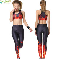 Wholesale fire burning for sale - Group buy 3D Print Burning Flame Sport Yoga Sets Bras Padded Red Fire Raging Flames Running Pants Fitness Pieces Set Gym Sportsuits