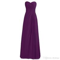 vestidos de dama de honor bastante negro al por mayor-Vestidos de dama de honor 2019 Nuevo diseño Púrpura Una línea Cariño gasa piso-longitud Dama de honor vestidos DB005