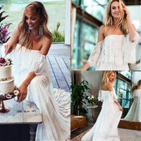Wholesale mermaid wedding dress sheer shoulders for sale - Group buy Bohemain Lace Wedding Dresses Off Shoulder Illusion A Line Sweep Train Garden Beach Bridal Gowns Plus Size Country Style Vestidoe De Noiva