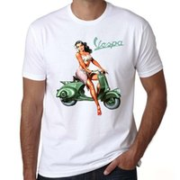 Wholesale vintage vespa scooters resale online - Vintage Vespa Girl Riders t shirt men Vespa motorcycle scooter t shirt male logo print tee shirt homme short sleeve funny